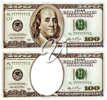 Royalty Free Clipart Image of One Hundred Dollar Bills