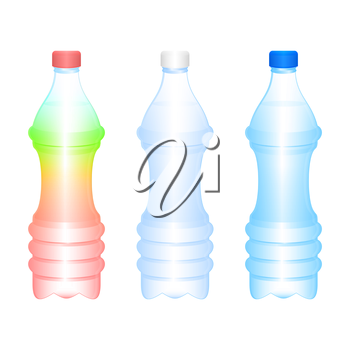 Royalty Free Clipart Image of Three Bottles