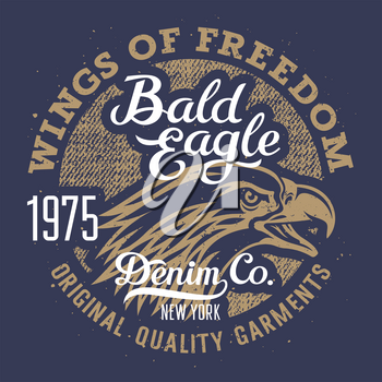 Eagle T-shirt graphics / Vintage Typography / Original graphic Tee / Grunge Denim texture