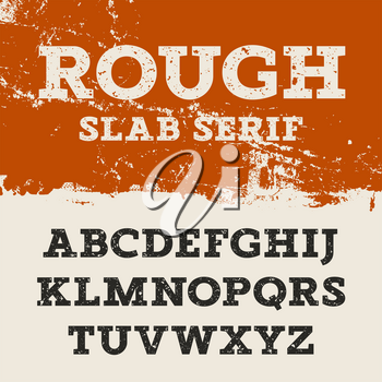 Grunge font. Retro alphabet in western style. Slab Serif uppercase letters. Textured rough vector font for labels and posters