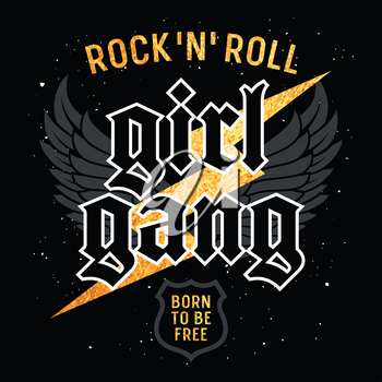 Rock and Roll Girl Gang graphic design for t-shirt, Fashion slogan typography, Tee graphics for girls, Rock style vector illustration with eagle wings and gold lighting