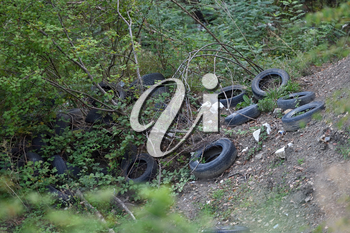 Pollution of nature with old car tires. Environmental problem with pollution