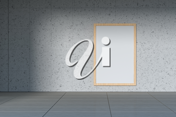 Blank white banner outside. Concrete building in the background. 3d rendering. Computer digital drawing.