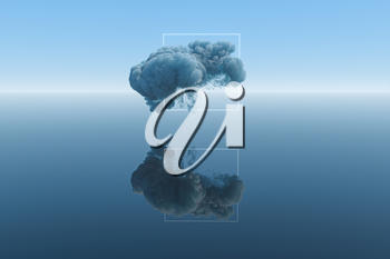 Dark clouds and geometric figure with blue background, 3d rendering. Computer digital drawing.