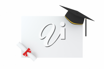 Graduate hat with white board background, 3d rendering. Computer digital drawing.