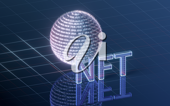 NFT nonfungible tokens concept with dark background, 3d rendering. Computer digital drawing.