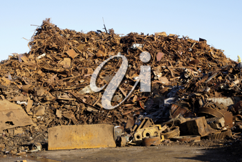 Royalty Free Photo of a Mountain of Rusty Metal