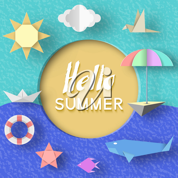 Hello Summer Paper Applique Symbols, Sign and Objects with Text illustrate the Greeting of the Summertime. Template for Banner, Card, Logo, Poster, Label. Art Background. Design Vector Illustrations.
