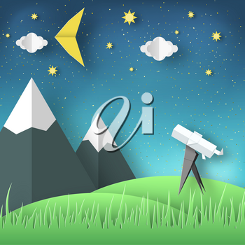 Paper Origami Abstract Concept, Applique Scene with Cut Telescope and Stars. Observation Through a Spyglass. Astronomy Cutout Template with Elements, Symbols for Card. Vector Illustrations Art Design.