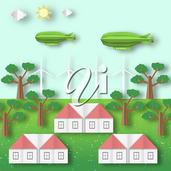 Paper Origami Landscape Ecology Environment and Conservation. Cut Backdrop. Carve House, Wind Mill, Aerostat, Tree, Cloud, Sun. Cutout Trend, Papercut Style. Vector Graphics Illustrations Art Design.