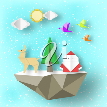 Cut Santa Claus, deer and tree on polygonal soaring islands paper origami Christmas nature scene. Handwork abstract Xmas concept cutout fragments for templates. Vector Illustrations Art Design.
