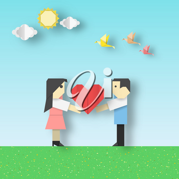 Happy Love Origami Scene with Couple and Big Hearts Crafted Romantic Paper Concept for Valentine's Day. Cut Applique Scene with Elements. Quality Art Cutout Template. Vector Illustrations Art Design.