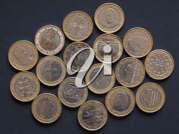 Euro coins currency from many different countries in the European Union, plus the common side