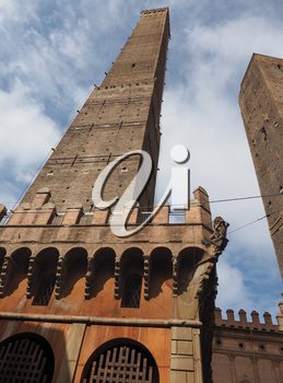 Torre Garisenda and Torre Degli Asinelli leaning towers aka Due Torri (meaning Two towers) in Bologna, Italy