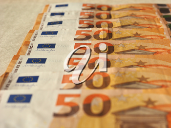 Fifty Euro banknotes money (EUR), currency of European Union