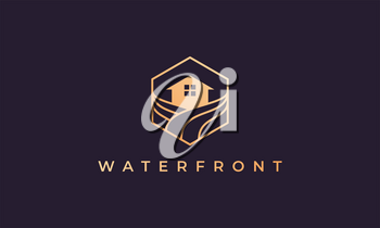 resort logo with a hexagon base shape with ocean wave and window
