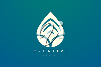 Minimalist abstract shaped water drop logo design. Simple and modern vector design for business brand and product