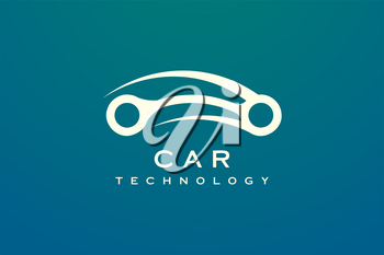 Minimalist and elegant car design in gold. Car vector design with style technology