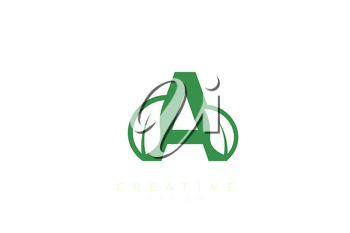 The combination of leaves and letters of the alphabet. Minimalist and simple design in green
