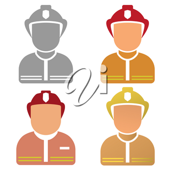 Firefighter Character set. Vector illustration on a white background.