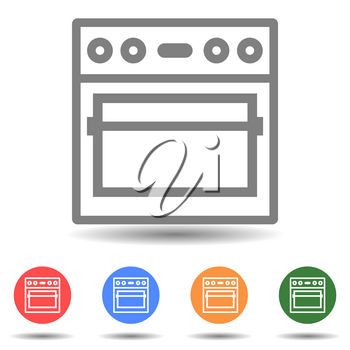 Kitchen stove vector icon isolated