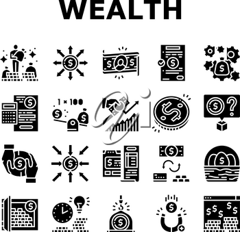 Wealth Finance Capital Collection Icons Set Vector. Millionaire Money Wealth And Financial Income, Budget And Investor Diversification Glyph Pictograms Black Illustrations
