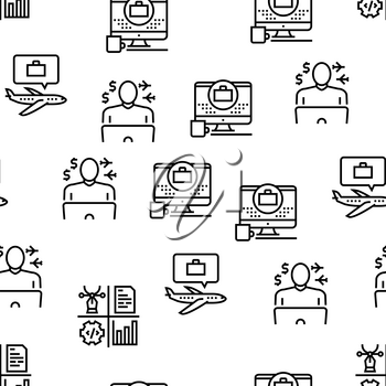 Digital Nomad Worker Vector Seamless Pattern Thin Line Illustration