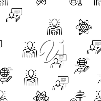Business Ethics Moral Vector Seamless Pattern Thin Line Illustration