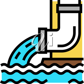 water flowing from drainage pipe color icon vector. water flowing from drainage pipe sign. isolated symbol illustration