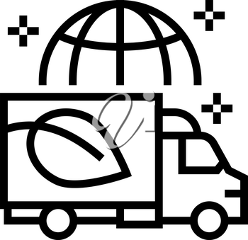 eco delivery truck line icon vector. eco delivery truck sign. isolated contour symbol black illustration