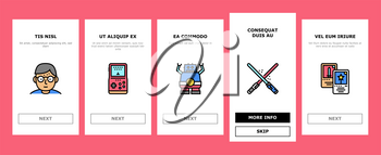 Geek, Nerd And Gamer Onboarding Mobile App Page Screen Vector. Chess And Video Game, Mathematics And Astrology, Ufo And Futuristic Weapon Geek Illustrations