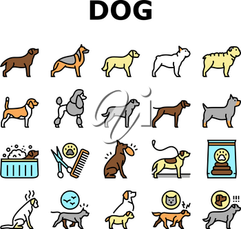 Dog Domestic Animal Collection Icons Set Vector. Yorkshire And Rottweiler, Beagle And French Bulldog, Golden Retriever And German Shepherd Dog Concept Linear Pictograms. Contour Illustrations