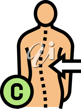 c-shaped scoliosis color icon vector. c-shaped scoliosis sign. isolated symbol illustration