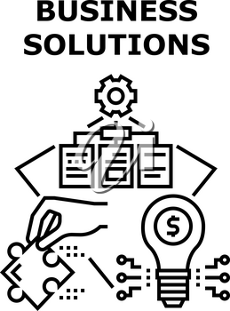 Business Solutions And Idea Vector Icon Concept. Business Solutions And Idea For Startup Company, Developing Working Process And Management Employees And Work. Earning Money Black Illustration