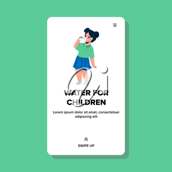 Water For Children From Cooler Filter Tool Vector. Thirsty Girl Drinking Healthy Glass Water For Children. Character Little Lady Kid Refreshing With Fresh Aqua Beverage Web Flat Cartoon Illustration