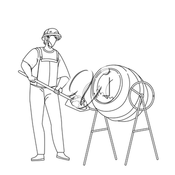 Mixing Cement Construction Worker In Tool Black Line Pencil Drawing Vector. Builder Filling Cement With Shovel In Mixer, Working Prepare Concrete In Building Equipment. Professional Illustration