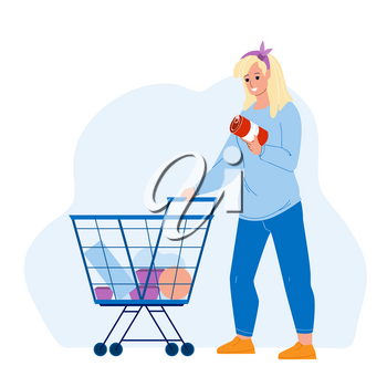 Customer With Market Cart Choosing Food Vector. Young Woman Customer Choose Conserve And Buying Products In Grocery Supermarket. Character Girl Purchase In Shop Flat Cartoon Illustration