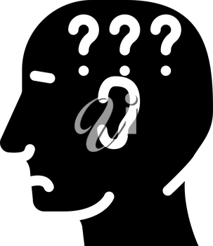 question neurosis glyph icon vector. question neurosis sign. isolated contour symbol black illustration