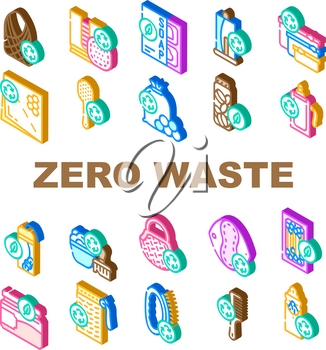 Zero Waste Products Collection Icons Set Vector. Zero Waste Hairbrush And Toothbrush, Bag And Reusable Pad, Soap Dispanser And Jar For Cosmetics Color Illustrations