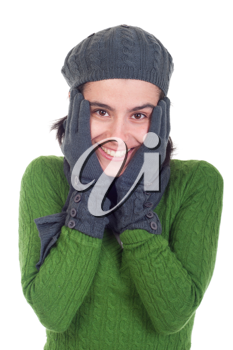 Royalty Free Photo of a Woman Wearing a Winter Hat and Gloves