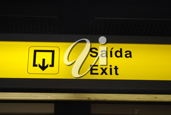 Royalty Free Photo of an Exit Sign at an International Airport