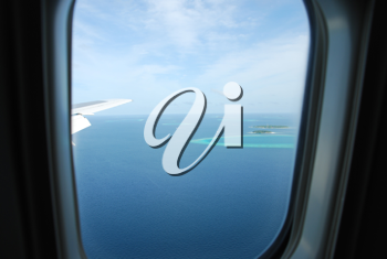 Royalty Free Photo of a View of the Maldives Island From an Airplane