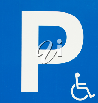 Royalty Free Animation of a Blue Handicap Parking Sign