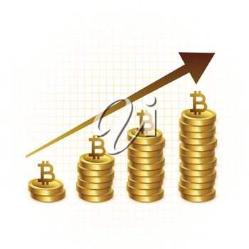 bitcoin growth graph chart concept background