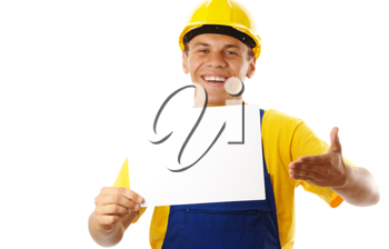 Royalty Free Photo of a Man Wearing a Hardhat Holding a Blank Sign