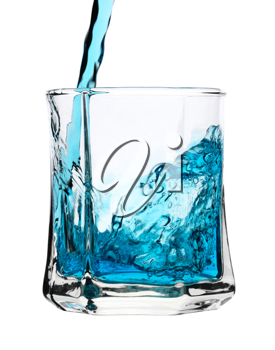 Royalty Free Photo of a Blue Drink Being Poured Into a Glass