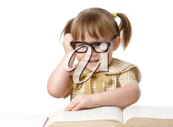 Royalty Free Photo of a Little Girl With Eyeglasses and a Book