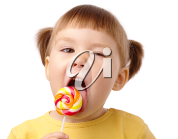 Royalty Free Photo of a Little Girl With a Sucker