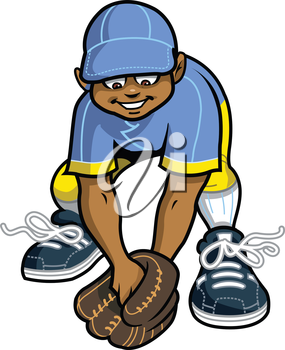 Royalty Free Clipart Image of a Boy Fielding a Ball