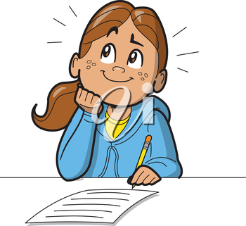 Royalty Free Clipart Image of a Girl With a Paper and Pencil